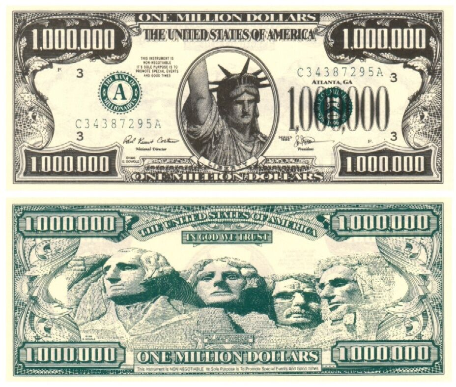 liberty statue one million dollar note x 5 ebay