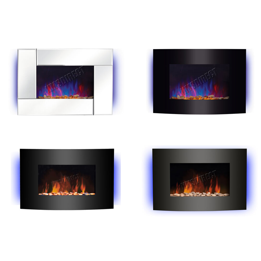 Wall Mounted Electric Fireplace Glass Heater Fire Remote