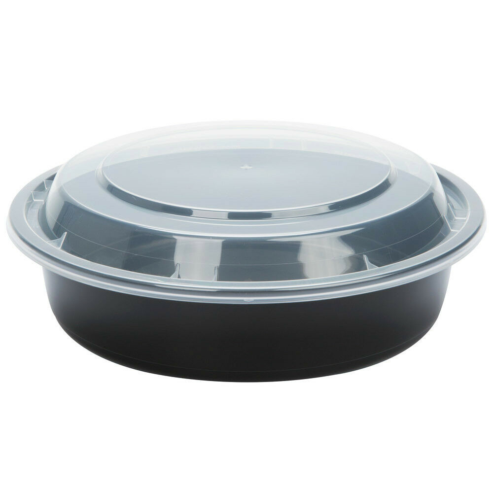 #7024 black 24 oz 7 round microwavable container with lid