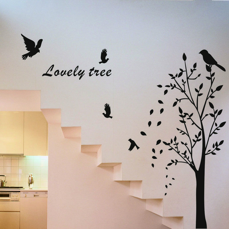 Family Wall Decor Diy : Family art wall sticker decal trees and birds vinyl room