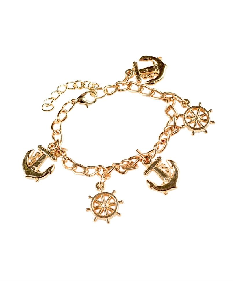 new gold color chain anchor and ship wheel charm bracelet
