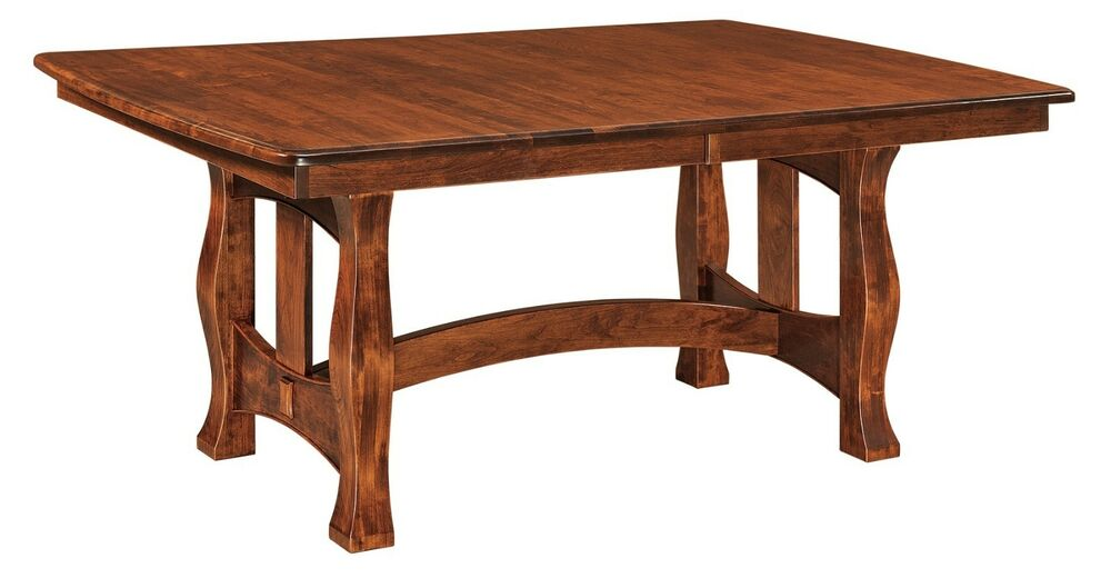 Amish Rustic Mission Trestle Dining Table Rectangle Extending Solid Wood 42x7
