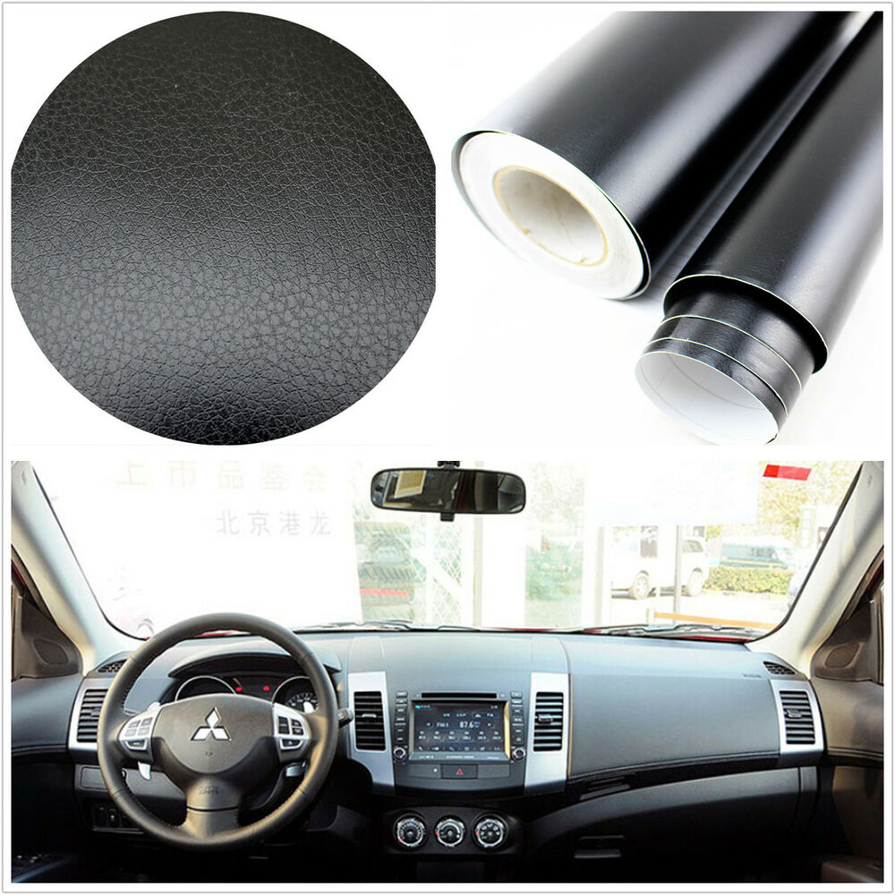 3d black leather texture sheet film vinyl sticker car interior console c pillaru ebay. Black Bedroom Furniture Sets. Home Design Ideas