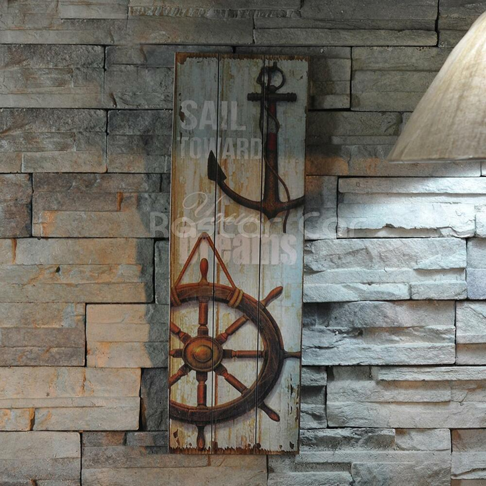Nautical decor rustic wood sign plaque wall art picture for Anchor decoration