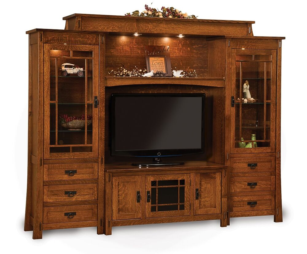 Amish modesto tv entertainment center solid wood wall unit for Tv cabinets with storage