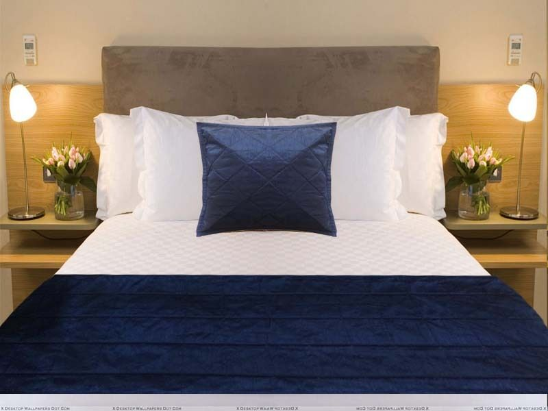 PLain Bed Runner pillow cover Navy Blue piping bed Scarf throw coverlet eBay