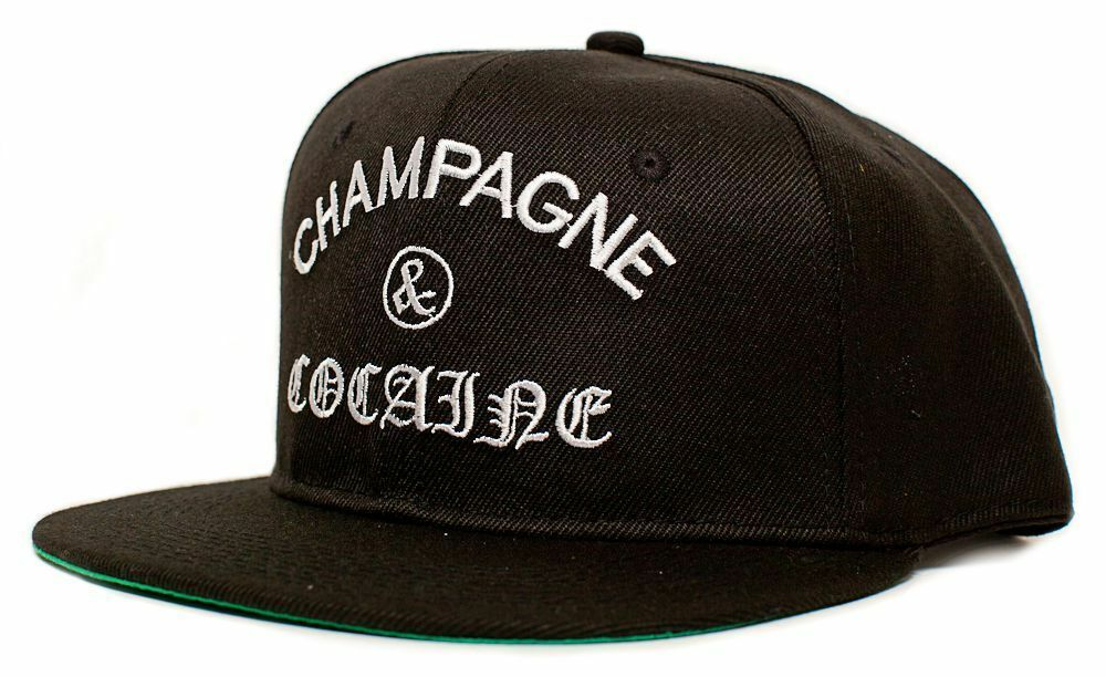 8ca6372a435 Details about New Champagne   Cocaine Embroidered Flat Bill 5 Panel Black  Snapback Hat Cap