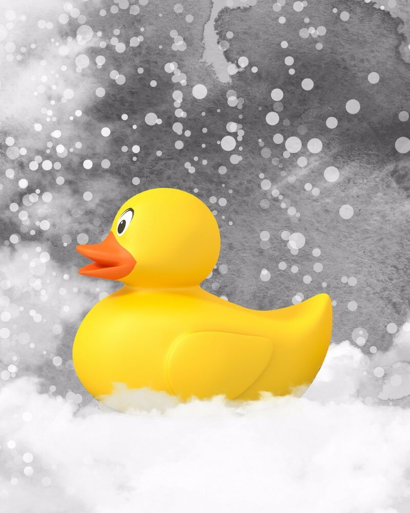 Yellow Gray Wall Art Photo Print Home Decor Bathroom Rubber Duck ...