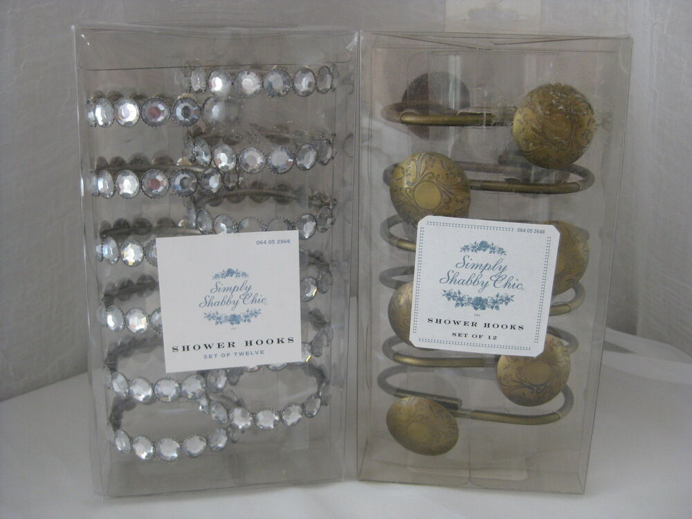 Htf simply shabby chic clear rhinestone or etched brass for Shabby chic rhinestone shower hooks