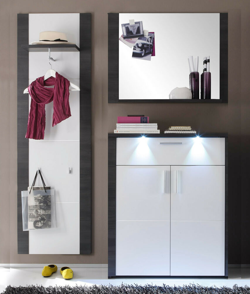 garderoben set flur garderobe wei und esche grau flurm bel mit kommode xpress ebay. Black Bedroom Furniture Sets. Home Design Ideas