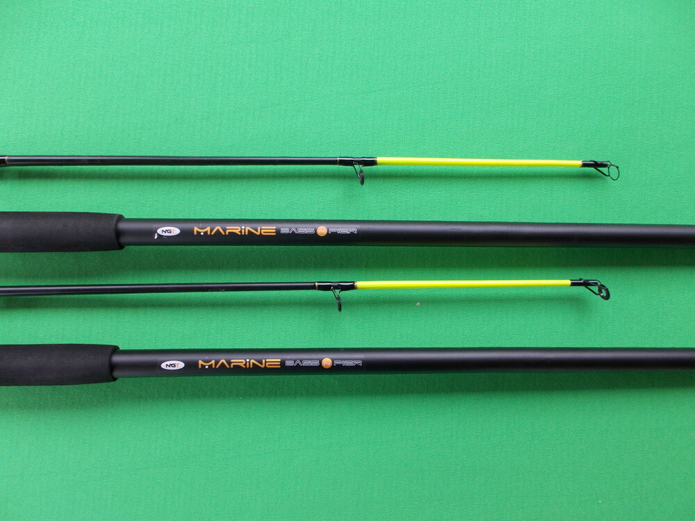 2 x bass pier spinning sea fishing rod with free rod for Bass fishing pole