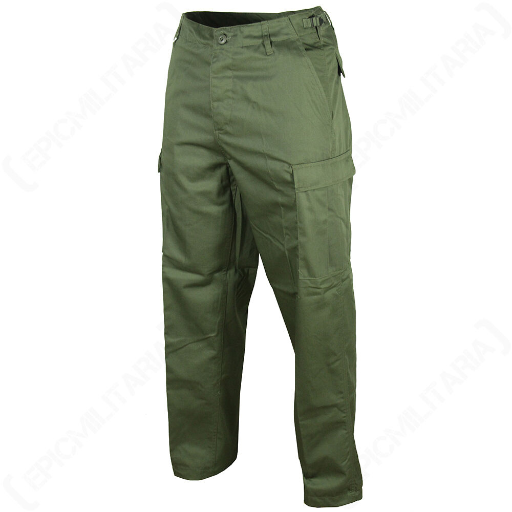 OLIVE CAMOUFLAGE COMBAT CARGO BDU TROUSERS Camo Army Pants ...