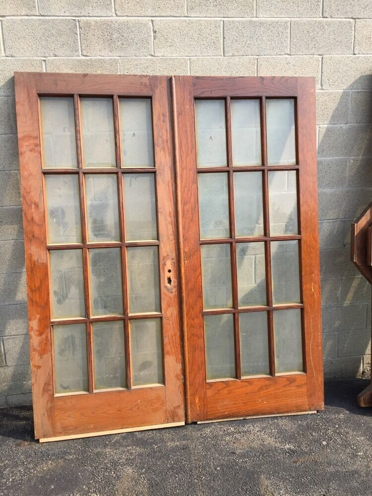 T12 one pair antique oak beveled glass french doors ebay for Old glass doors