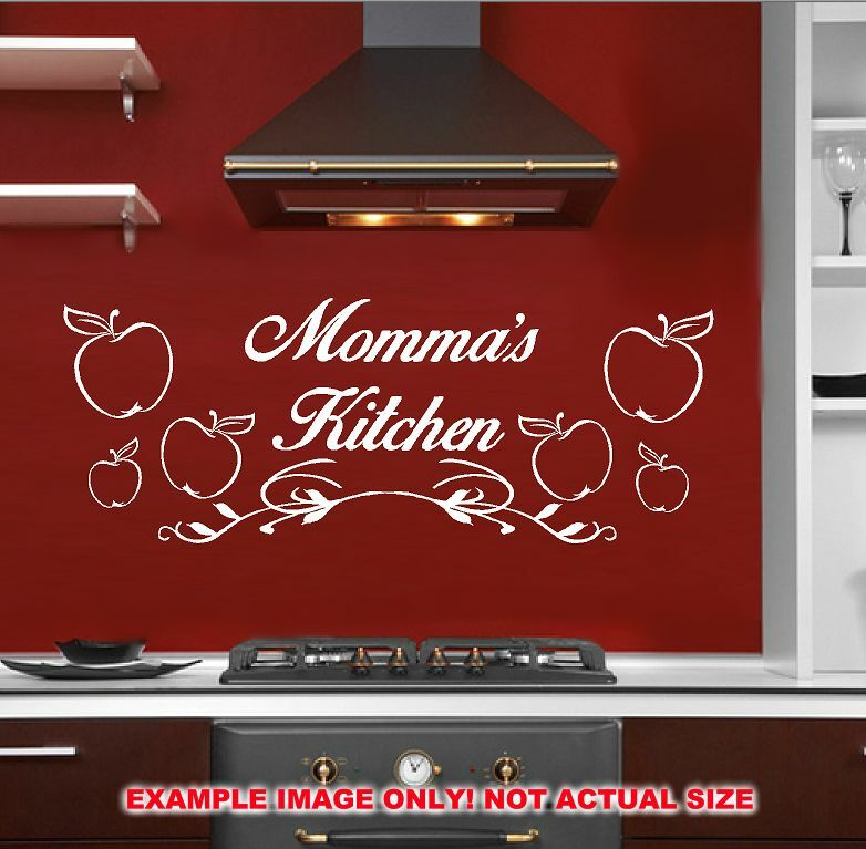 Mommas Kitchen: MOM MOMMAS KITCHEN APPLES DECAL STICKER WALL ART KISS COOK