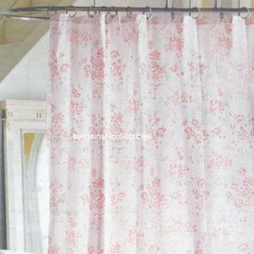 ... Shabby Chic Vintage Pink Floral Rose Toile Fabric Shower Curtain
