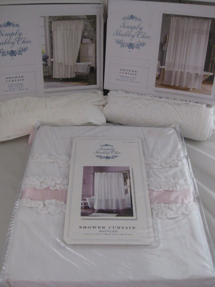 htf simply shabby chic white meshed lace dobby ruffled shower curtain 3 styles ebay. Black Bedroom Furniture Sets. Home Design Ideas