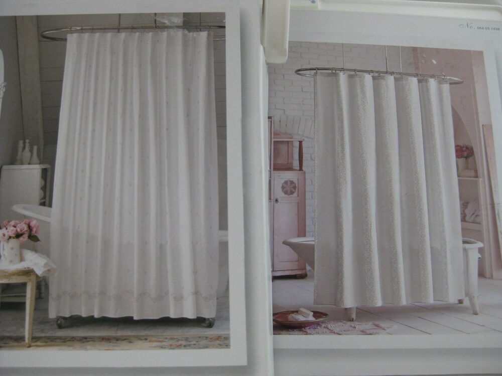 simply shabby chic fleur de lys floral scroll stripe shower curtain white silver ebay. Black Bedroom Furniture Sets. Home Design Ideas