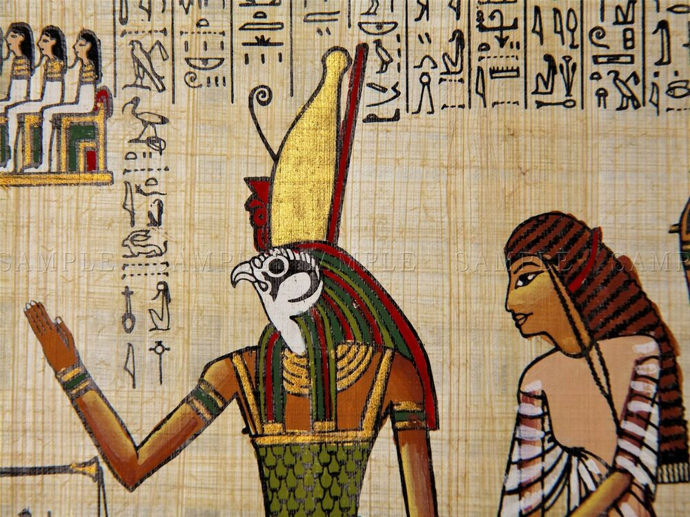 Painting ancient egyptian mural detail horus king deity for Ancient egyptian mural