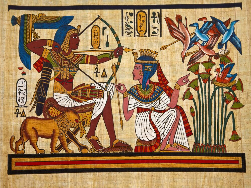 painting ancient egyptian mural pharaoh queen archery