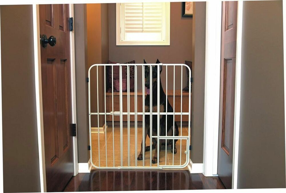 Big Tuffy Expandable Gate With Small Pet Door Ebay