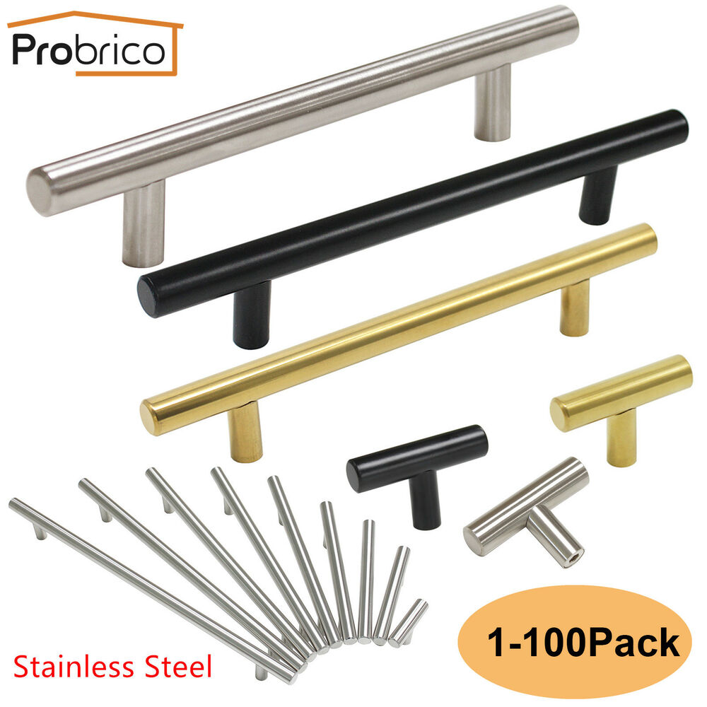 Stainless Steel T Bar Modern Kitchen Cabinet Door Handles: Probrico Kitchen Cabinet Pulls Brushed Nickel T Bar