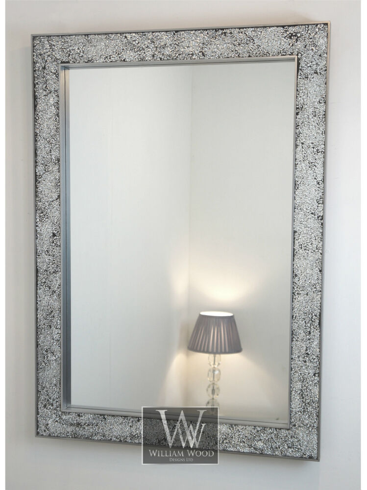 Ritz silver modern rectangle mosaic wall mirror 42 x 30 for Large silver modern mirror