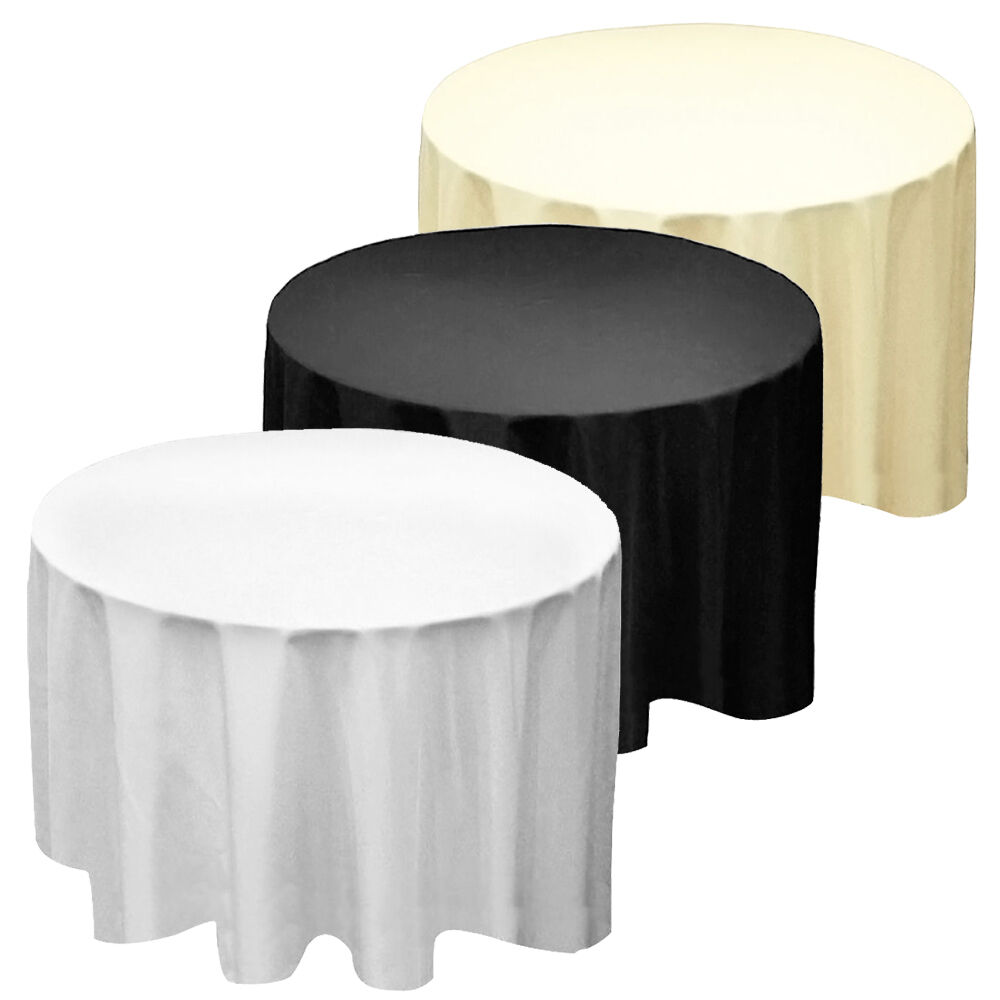 Round circular seamless party tablecloths linen table for 120 round plastic table covers