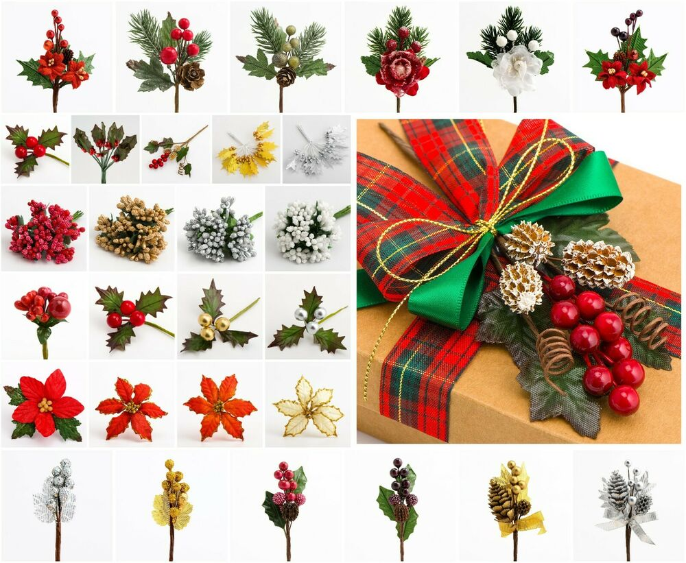Edible Cake Decorations Holly Leaves : Christmas Miniature Holly Poinsettia Berries Stems Favour ...