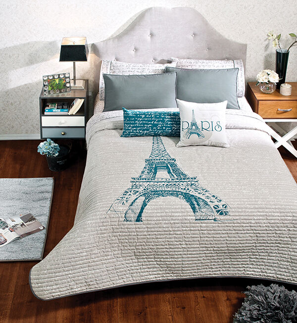 New Girls Women Gray Eiffel Tower Paris Thin Comforter