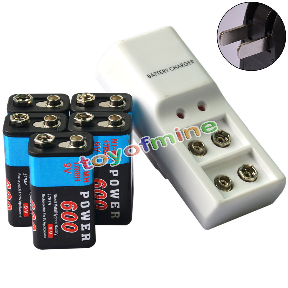 5x 9v 6f22 pps block 600mah ni mh rechargeable battery. Black Bedroom Furniture Sets. Home Design Ideas
