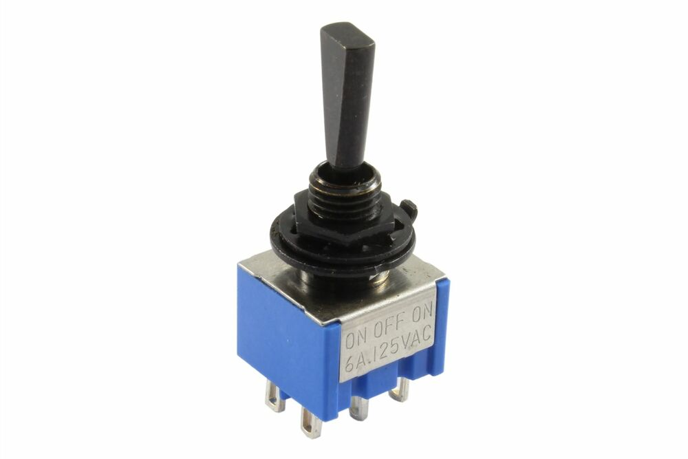mini flat paddle toggle switch 3 way on off on black ebay. Black Bedroom Furniture Sets. Home Design Ideas