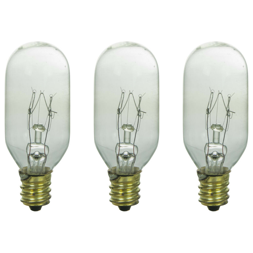 Three Bulbs 25T8 Clear 25 Watt 120 Volt E12 Candelabra