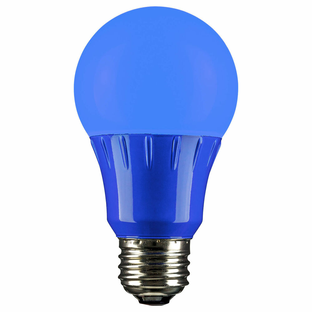 sunlite color led light bulb lamps a19 3 watts blue green. Black Bedroom Furniture Sets. Home Design Ideas
