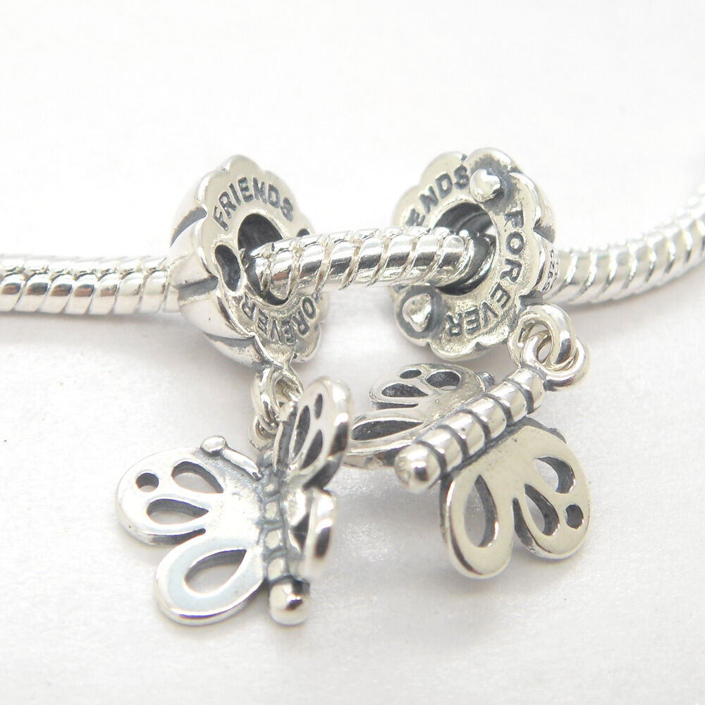 Best Friend Charm Bracelet: A Pairs Authentic Silver Best Friend Forever Butterfly