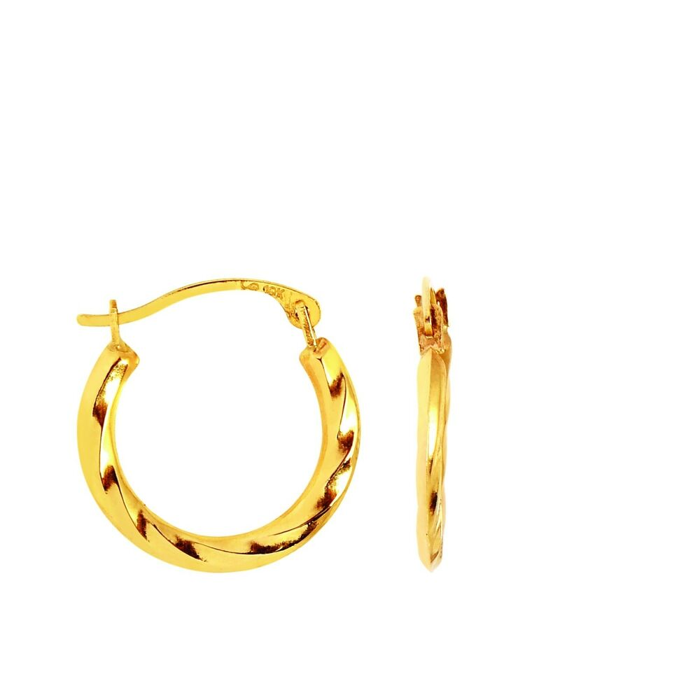 16 hoop earrings 10k yellow gold twisted hoops hoop earrings 16mm ebay 1562