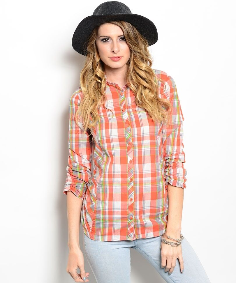 New women cute 100 cotton checkered plaid collar 3 4 for Plaid button down shirts for women