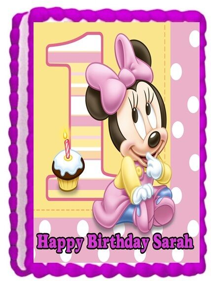 Minnie mouse baby edible cake topper birthday decorations for Baby minnie mouse party decoration