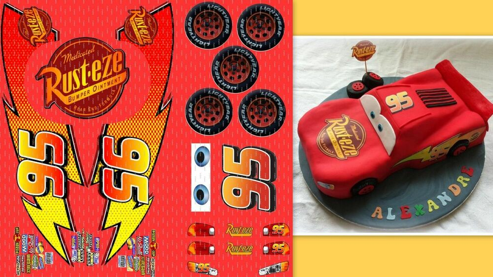 CARS LIGHTNING MCQUEEN EDIBLE BIRTHDAY CAKE TOPPER DECORATION