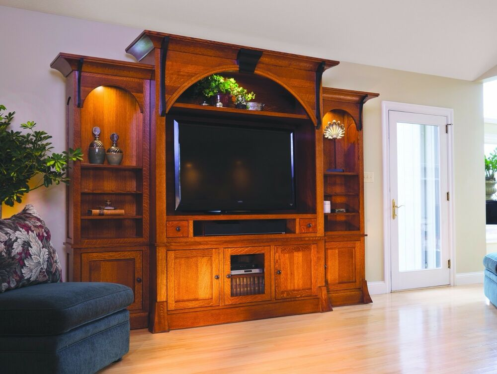 Amish Breckenridge TV Entertainment Center Solid Wood Wall Unit Cabinet Storage | eBay