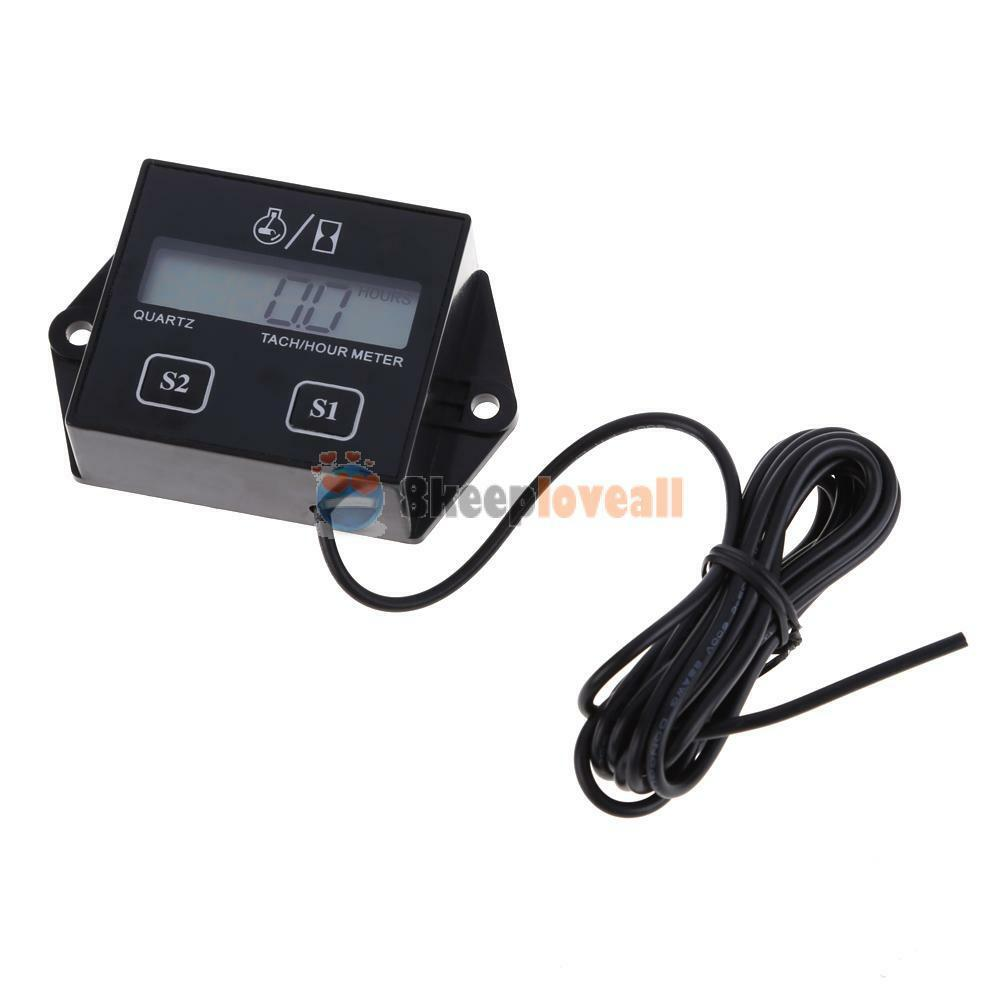 Mechanical Tachometer With Hour Meter Gauge : Lcd digital engine tach tachometer hour meter gauge for