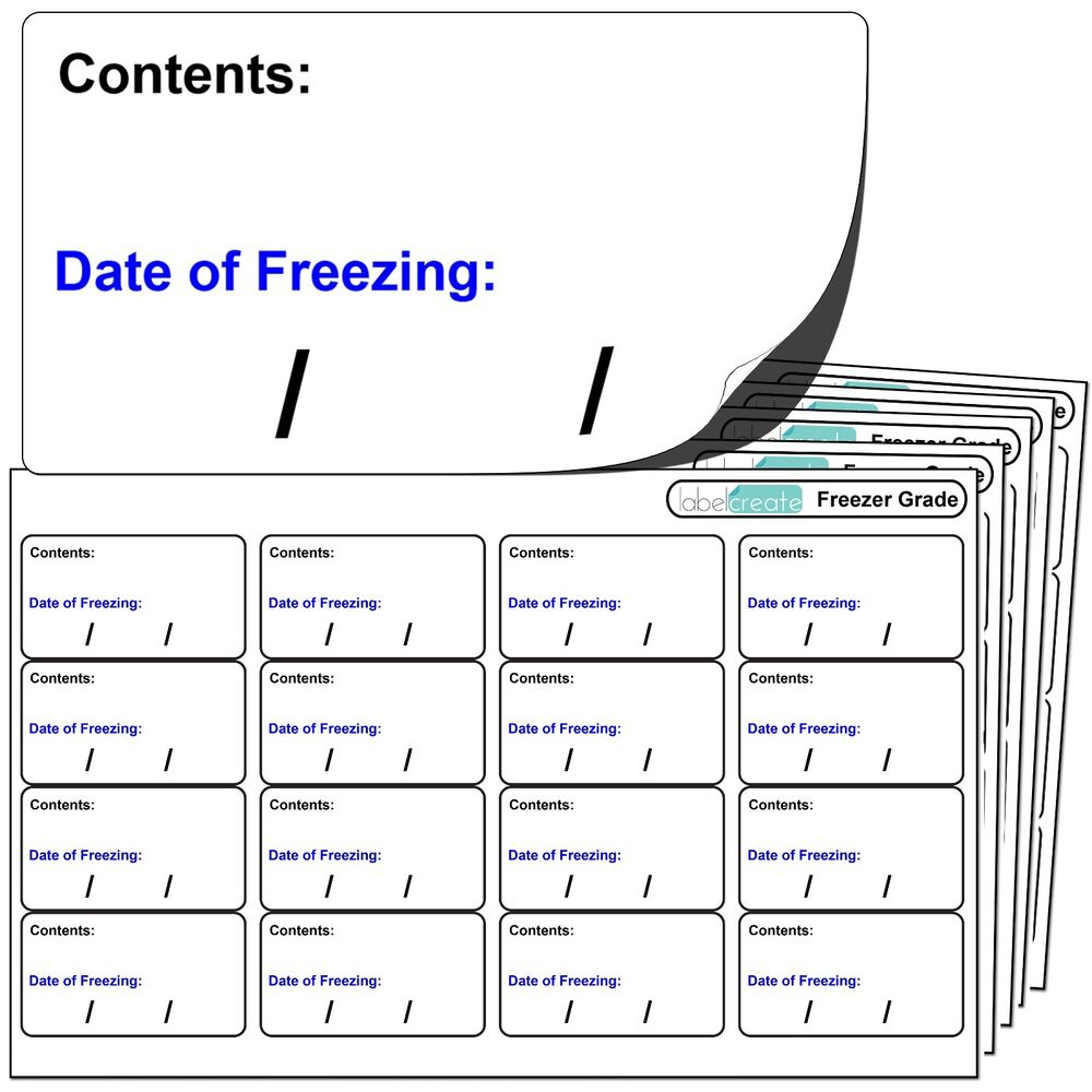 256 Freezer Labels. For Use With Any Standard Pen. FREEZER