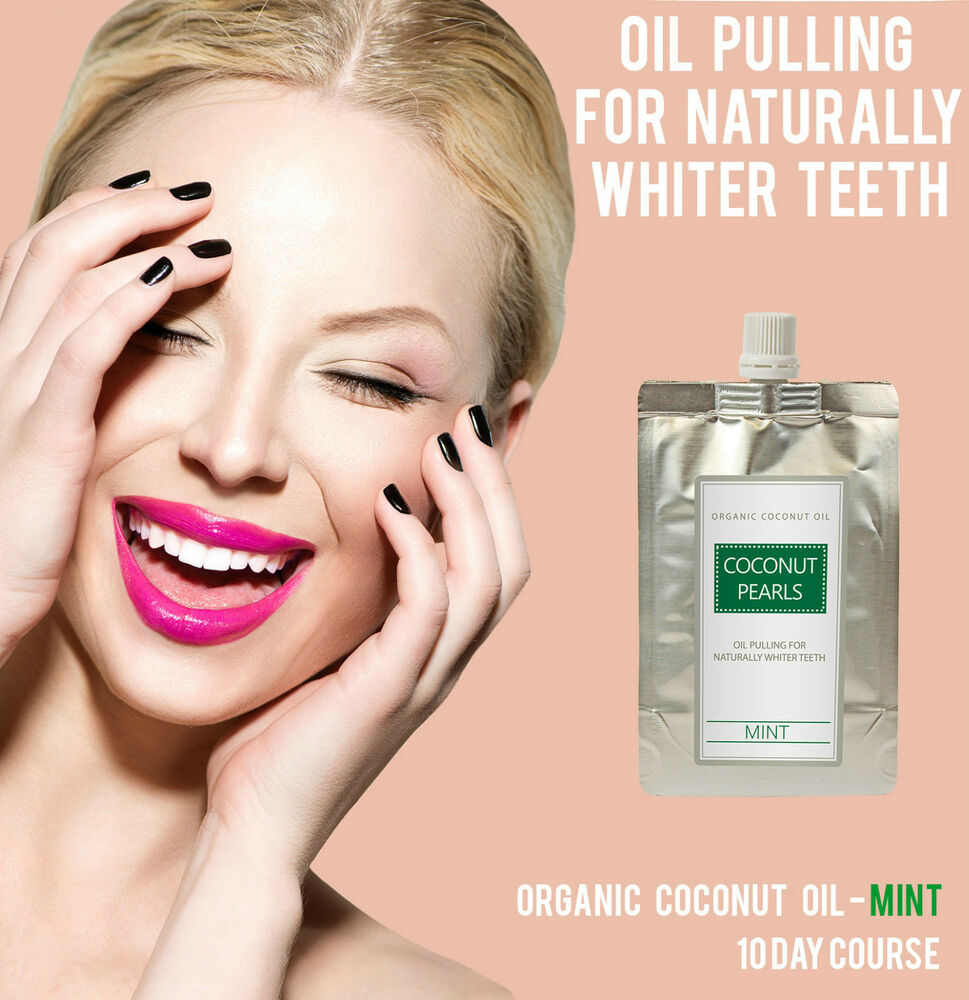oil pulling teeth whitening coconut pearls mint 10 day course cocowhite ebay. Black Bedroom Furniture Sets. Home Design Ideas