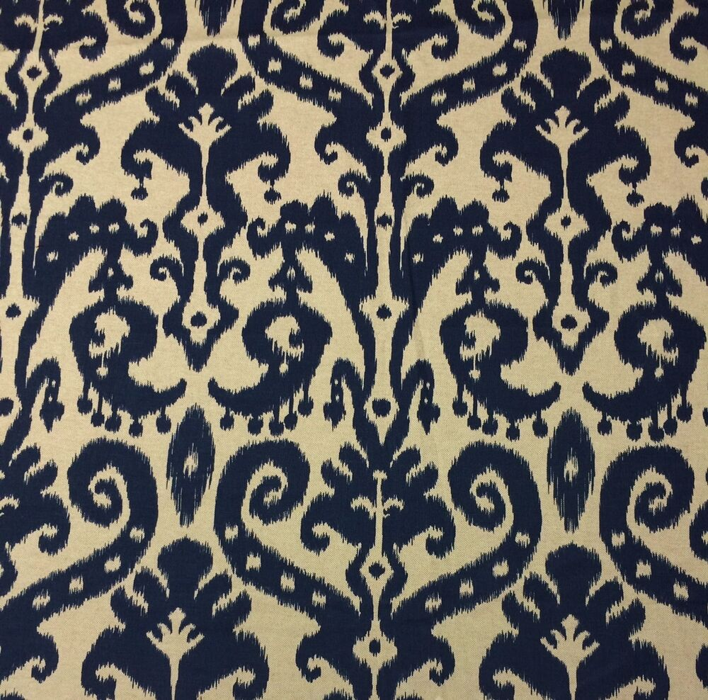Ballard designs venice ikat navy blue cream designer for By the yard fabric