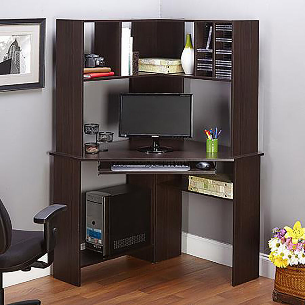 Corner Work Desk With Hutch Office Home Computer Workstation Furniture Espres