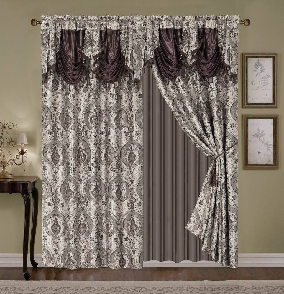 Luxury Embroidered Curtain Set 4pc Taupe Gold Beige Brown