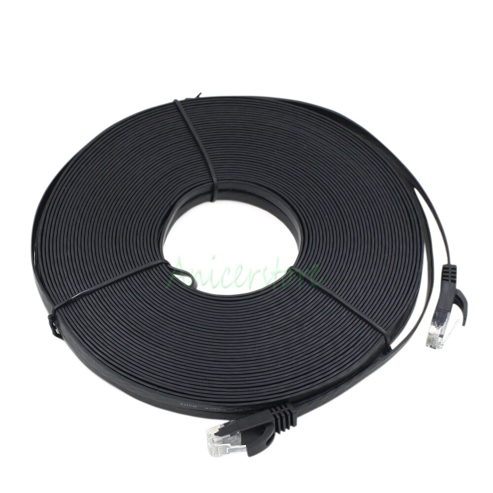 cat6 20m 65ft rj45 ethernet network lan cable flat utp. Black Bedroom Furniture Sets. Home Design Ideas