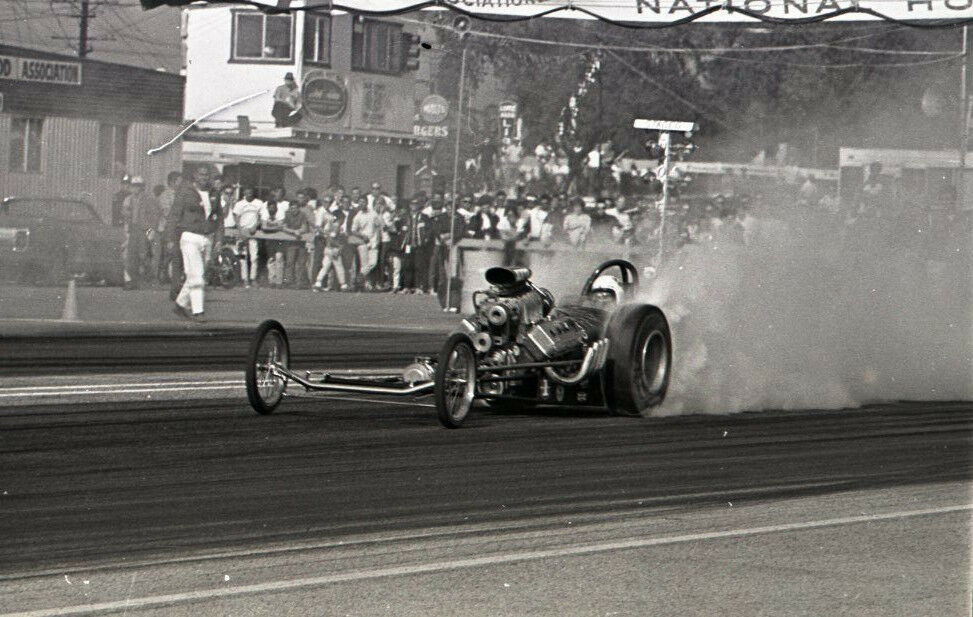 Front Engine Dragster Smoking Burnout Vintage 35mm Drag