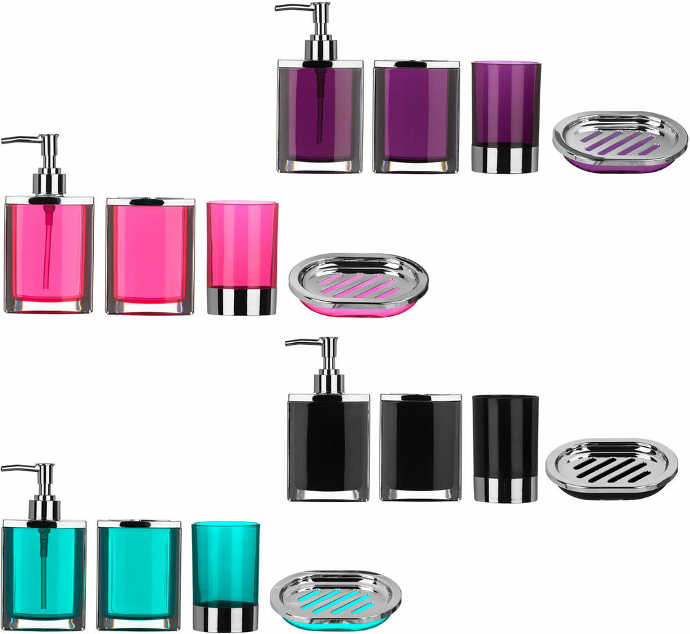 4 piece bathroom accessories set plastic body chrome for Purple bathroom bin