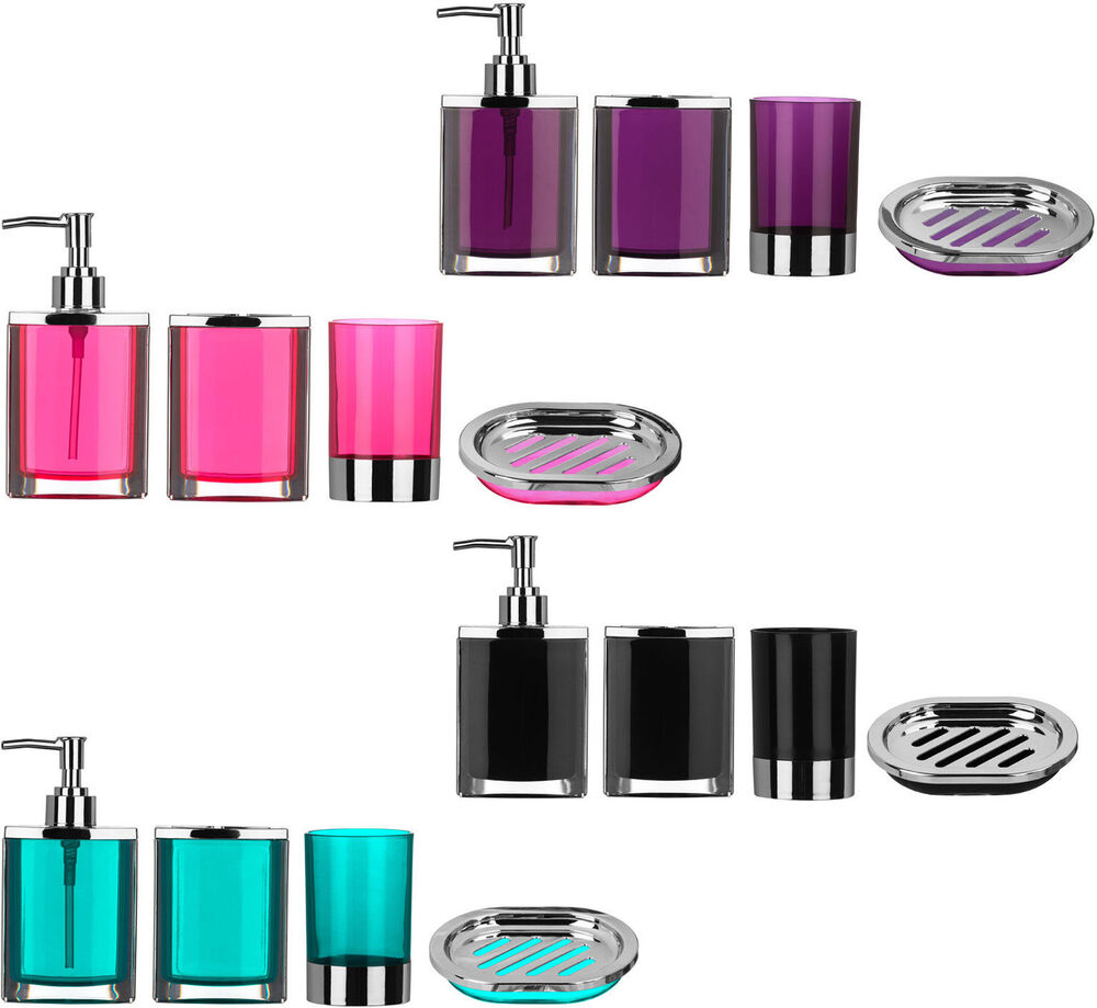 4 piece bathroom accessories set plastic body chrome for Pink toilet accessories