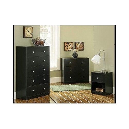 Contemporary bedroom furniture set 3 piece black dresser for Bedroom 3 piece sets